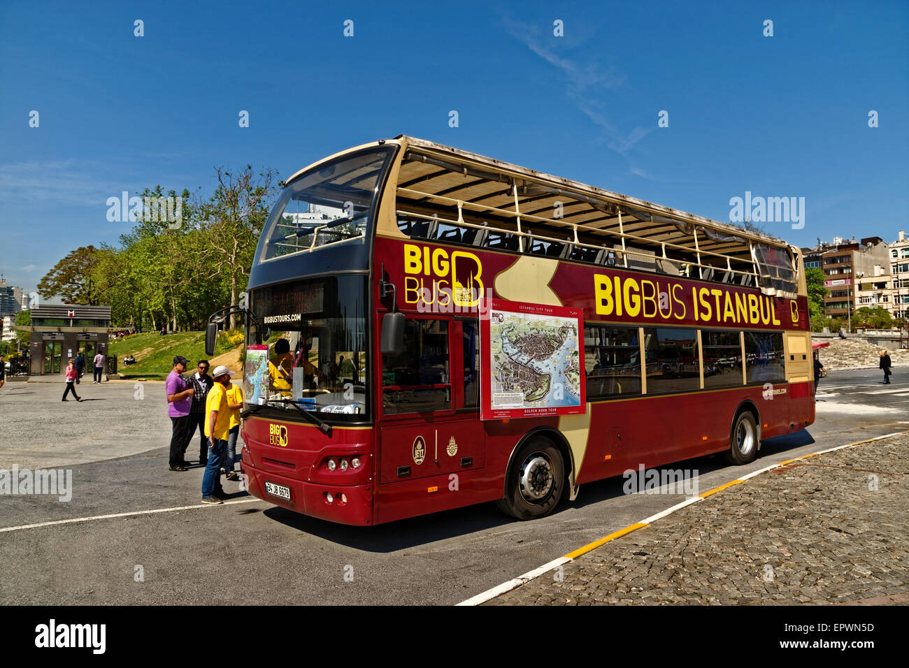 Istanbul Big Bus open-topped double decker tourism bus at Taksim Square, Istanbul, Turkey. - Stock Image