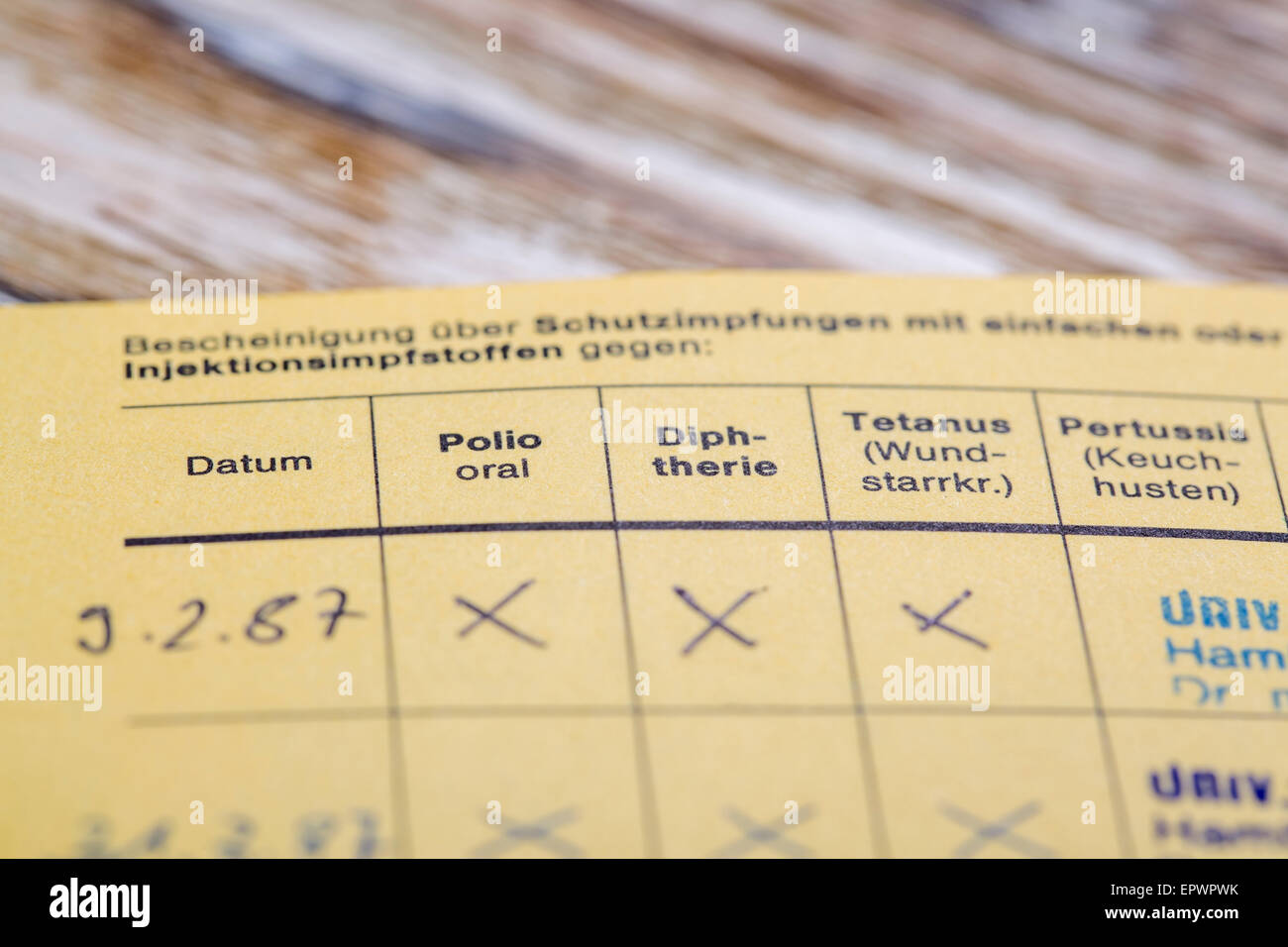HAMBURG, GERMANY - APRIL 12 2015: German version of the International Certificate of vaccination for Polio, Diphtheria, - Stock Image