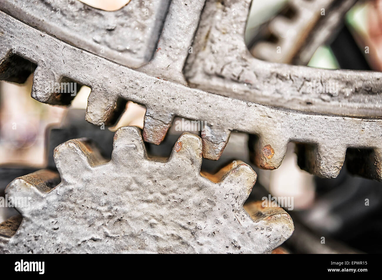 Closeup of two gears made of metal - Stock Image