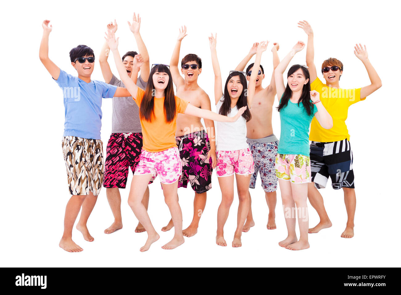 Happy Young Group Dancing And Enjoy Summer Vacation
