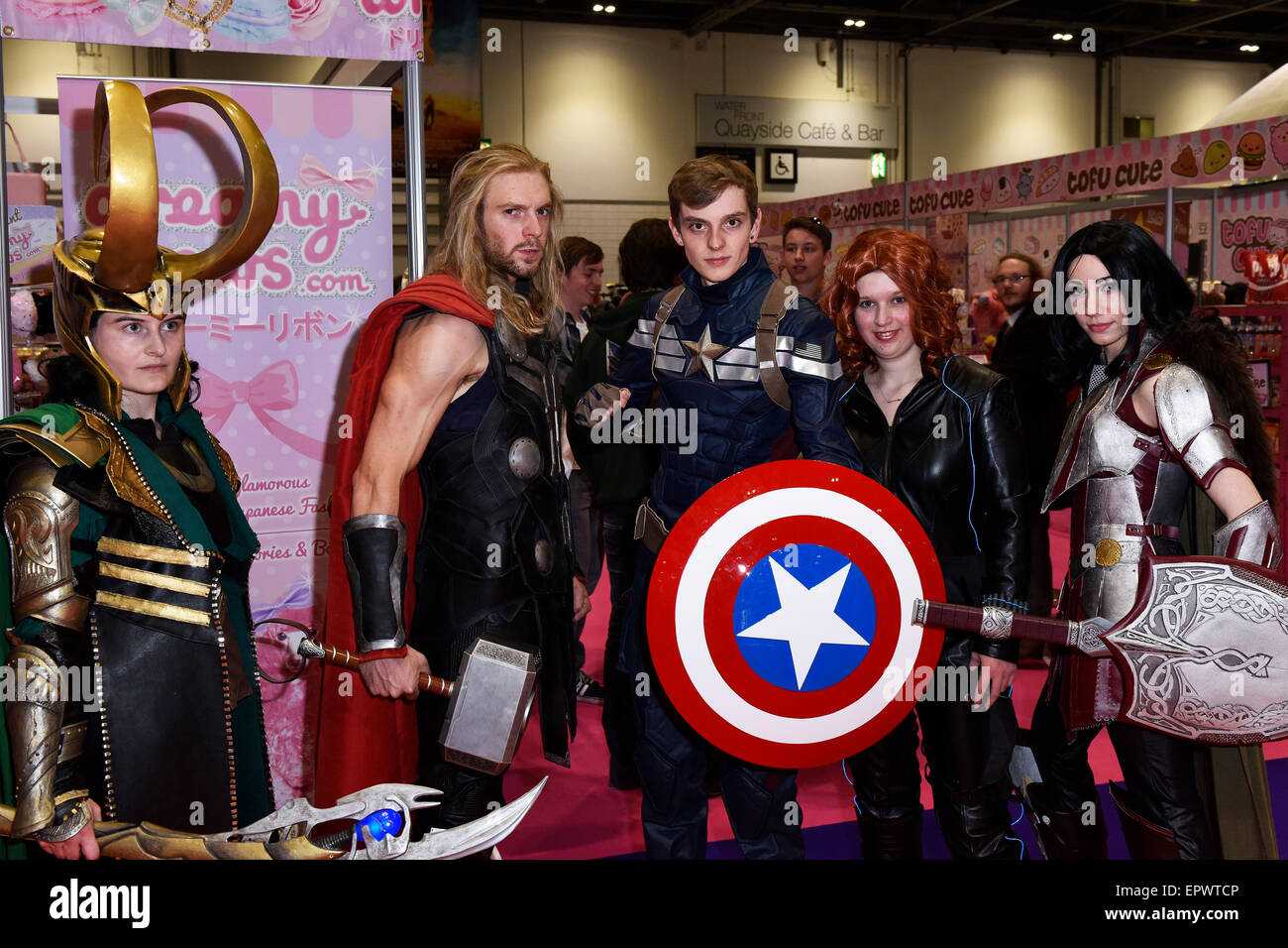 Excel Centre, London, UK. 22nd May, 2015. Cosplay fans dressed as various comic book super heroes at the opening - Stock Image