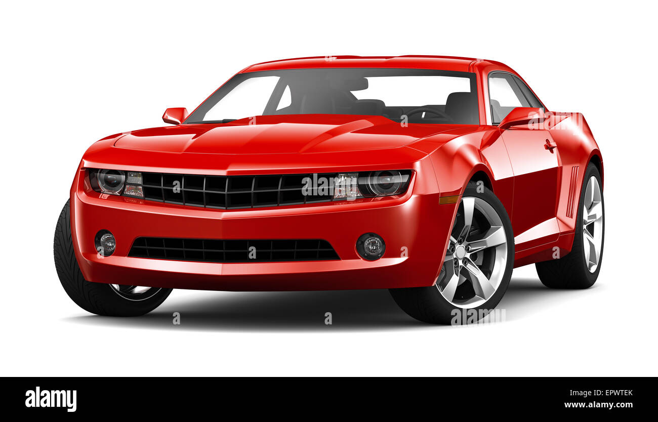 Red Muscle Car On White Background Stock Photo 82931931 Alamy