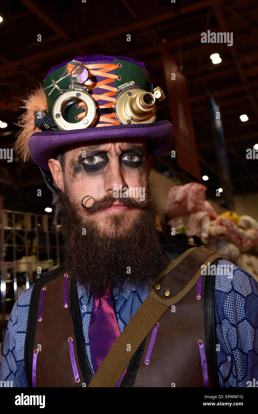 Excel Centre, London, UK. 22nd May, 2015.  A cosplay fan attends the opening day of the MCM London Comic Con. - Stock Image