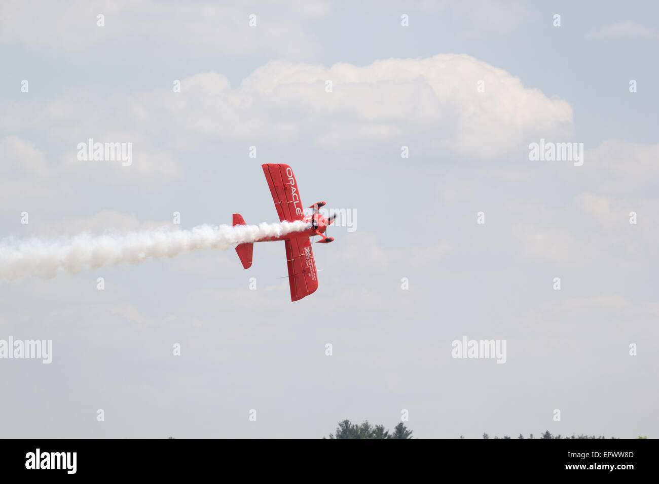 Oracle Aerobatic Airplane Flown By Sean D Tucker at Great New England Air Show, Westover Air Reserve Base, Massachusets, Stock Photo
