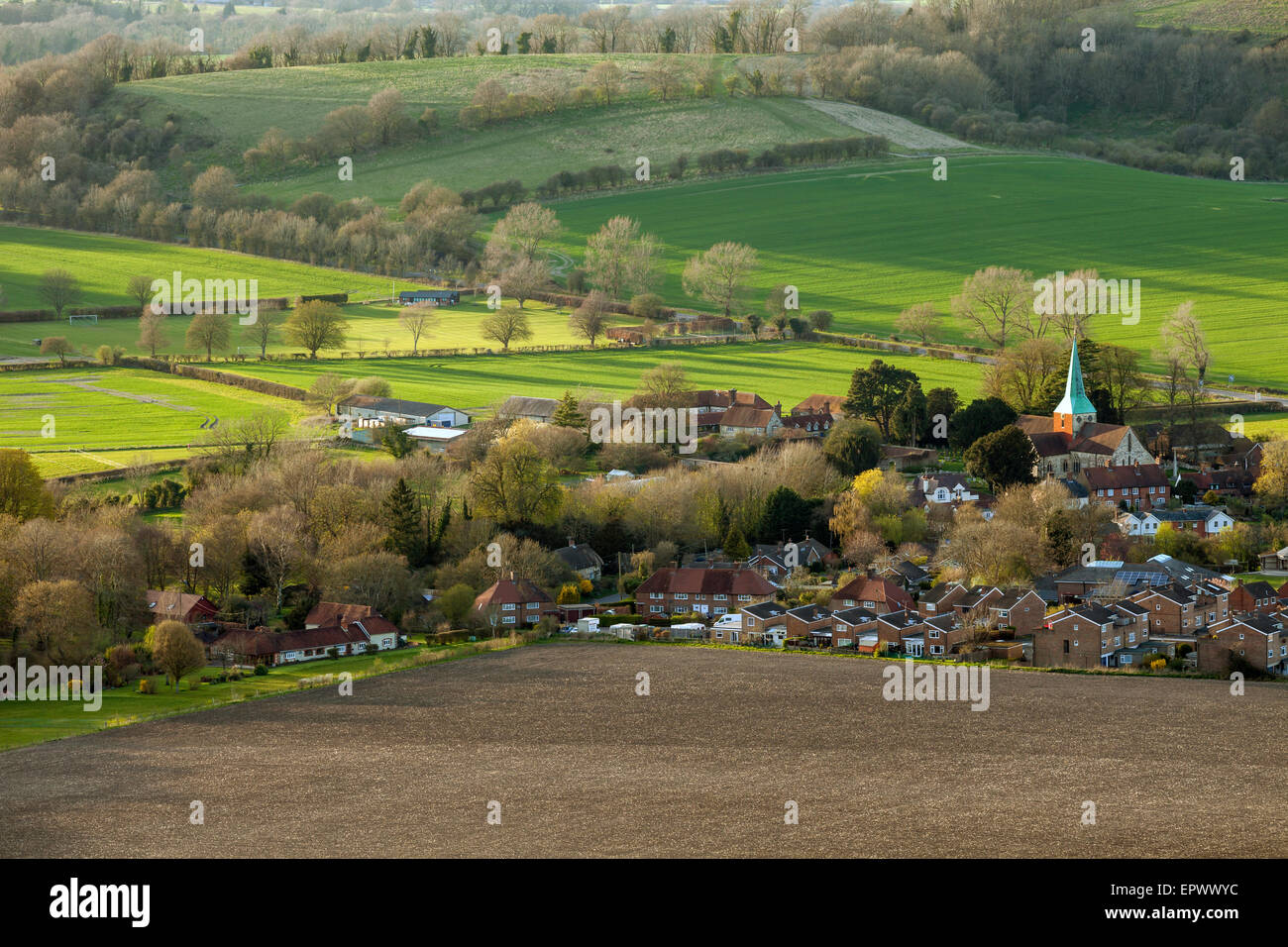 Evening in early spring at South Harting, West Sussex, England. - Stock Image