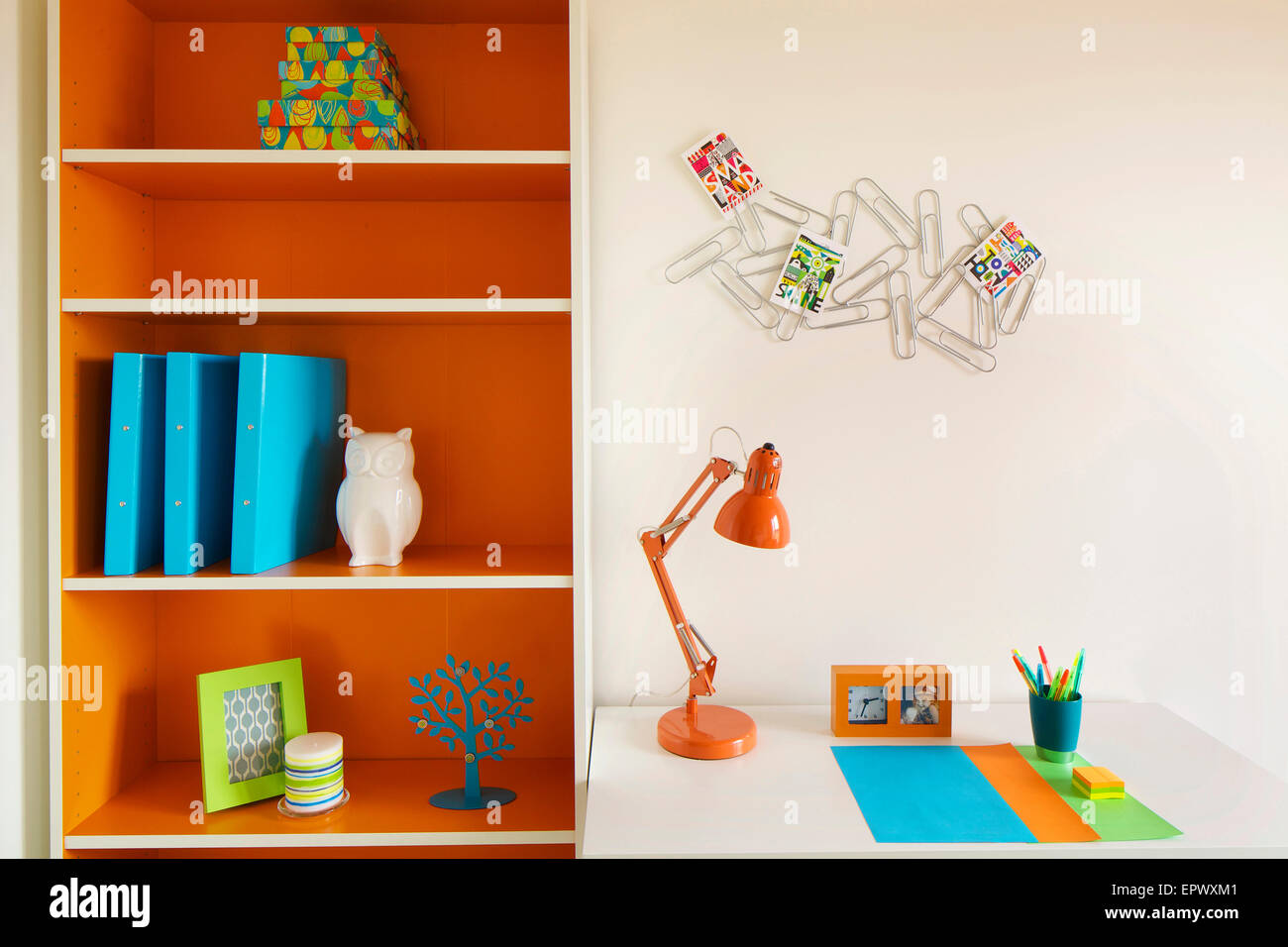 Deskspace and shelving in new build at Wallis Court Buckshaw Village, a newly-created community Chorley, Lancashire, - Stock Image