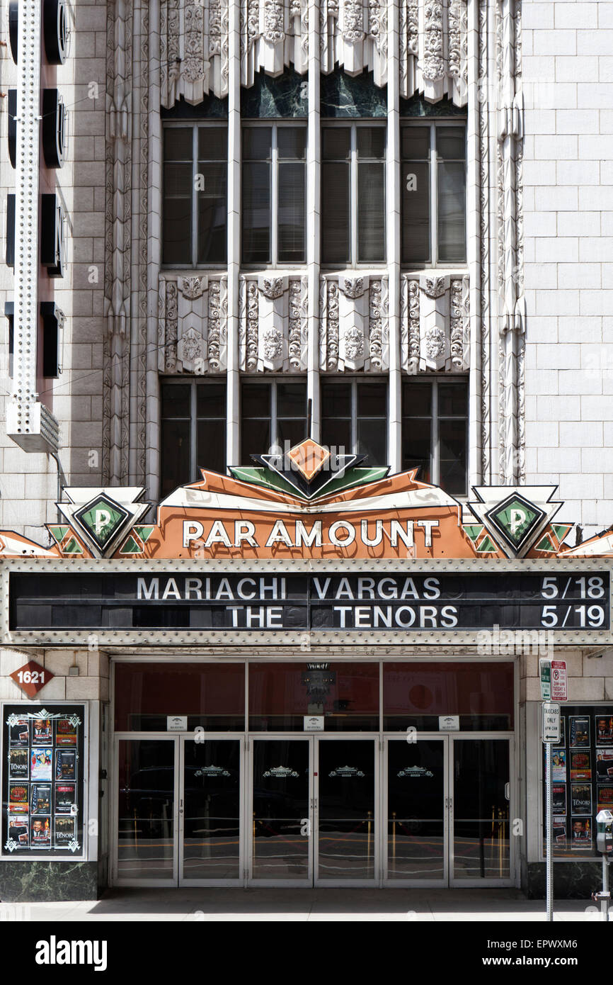 The art deco main entrance to the Paramount Theatre in downtown Denver, Colorado, USA. (Placed on the National Register - Stock Image