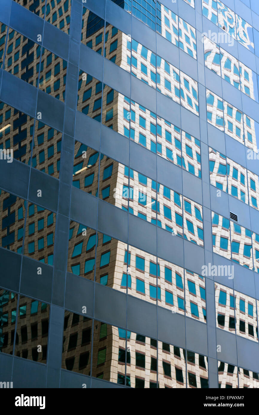 Abstracted reflections in windows of skyscraper building, Downtown Denver, Colorado, USA. - Stock Image
