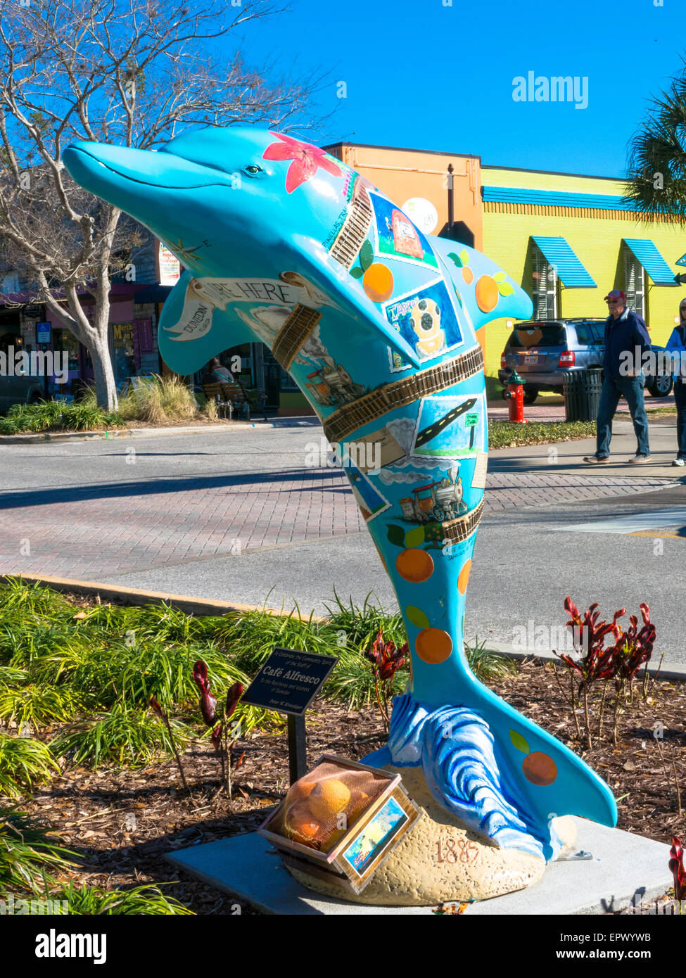Kitschy 5' Tall Fiberglass Bright Aqua Dolphin Yard Art , Florida, USA - Stock Image