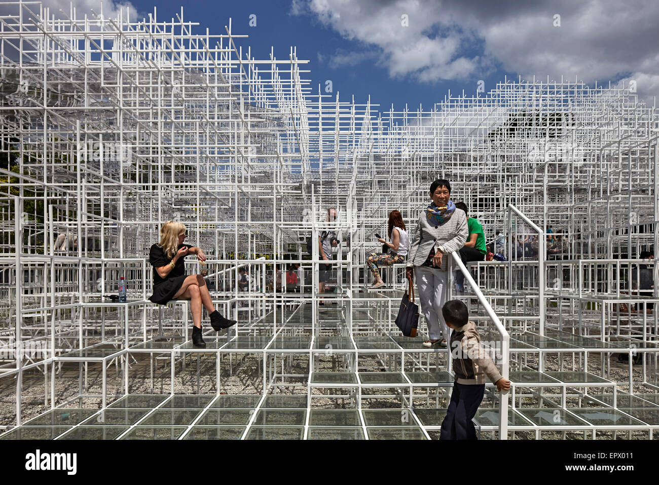 Temporary architectural installation, the Serpentine Pavilion 2013, Kensington Gardens, London, England, UK - Stock Image