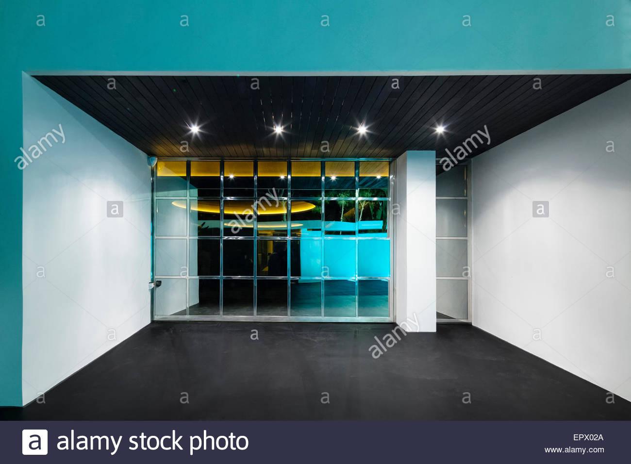 Spotlit garage in Alani Casa, Sitges, Barcelona, Catalonia, Spain - Stock Image