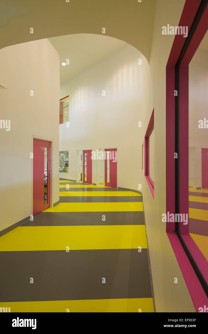 Corridor interior of Penleigh and Essendon Grammar School, Essendon, Melbourne, Australia. - Stock Image