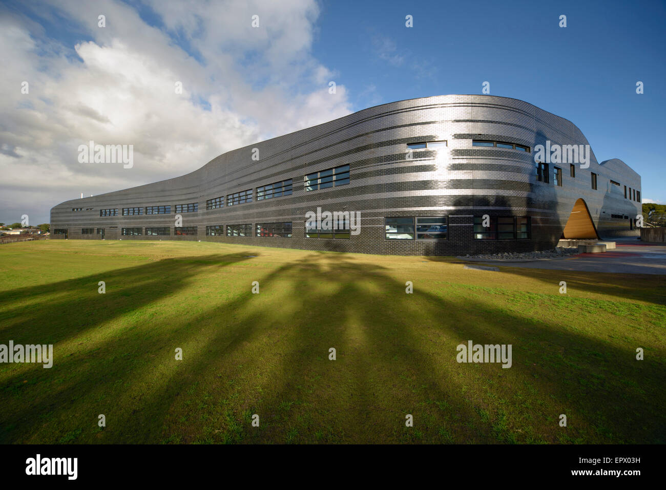 Metallic exterior of Penleigh and Essendon Grammar School, Essendon, Melbourne, Australia. - Stock Image