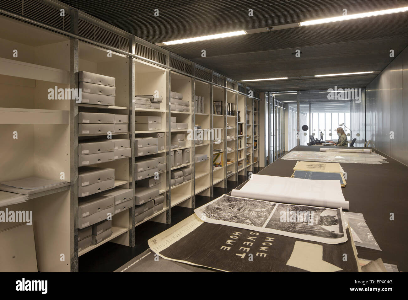 Reference facility and shelving in RMIT Design Hub, Melbourne, Australia - Stock Image