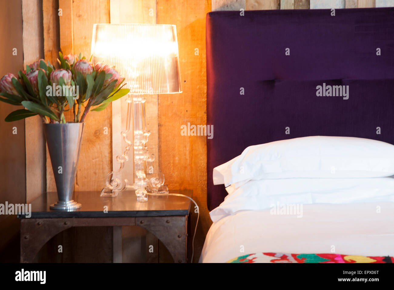 Alessi lamp on iron bedside table with vase of king proteas in South African home - Stock Image