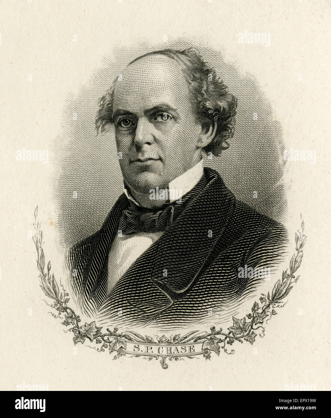 Antique c1870 steel engraving of Salmon P. Chase. Salmon Portland Chase (1808-1873) was an American politician and Stock Photo