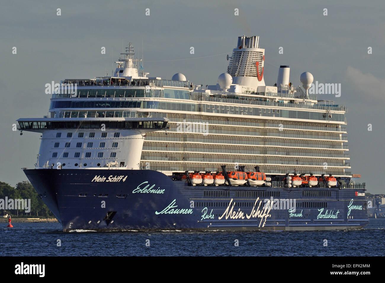 Mein Schiff 4 outbound on the Kiel Fjord - Stock Image