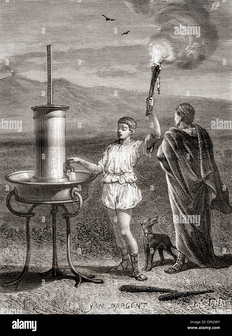 The ancient Greek hydraulic semaphore system being used by Aeneas to send a message, 4th century B.C. - Stock Image