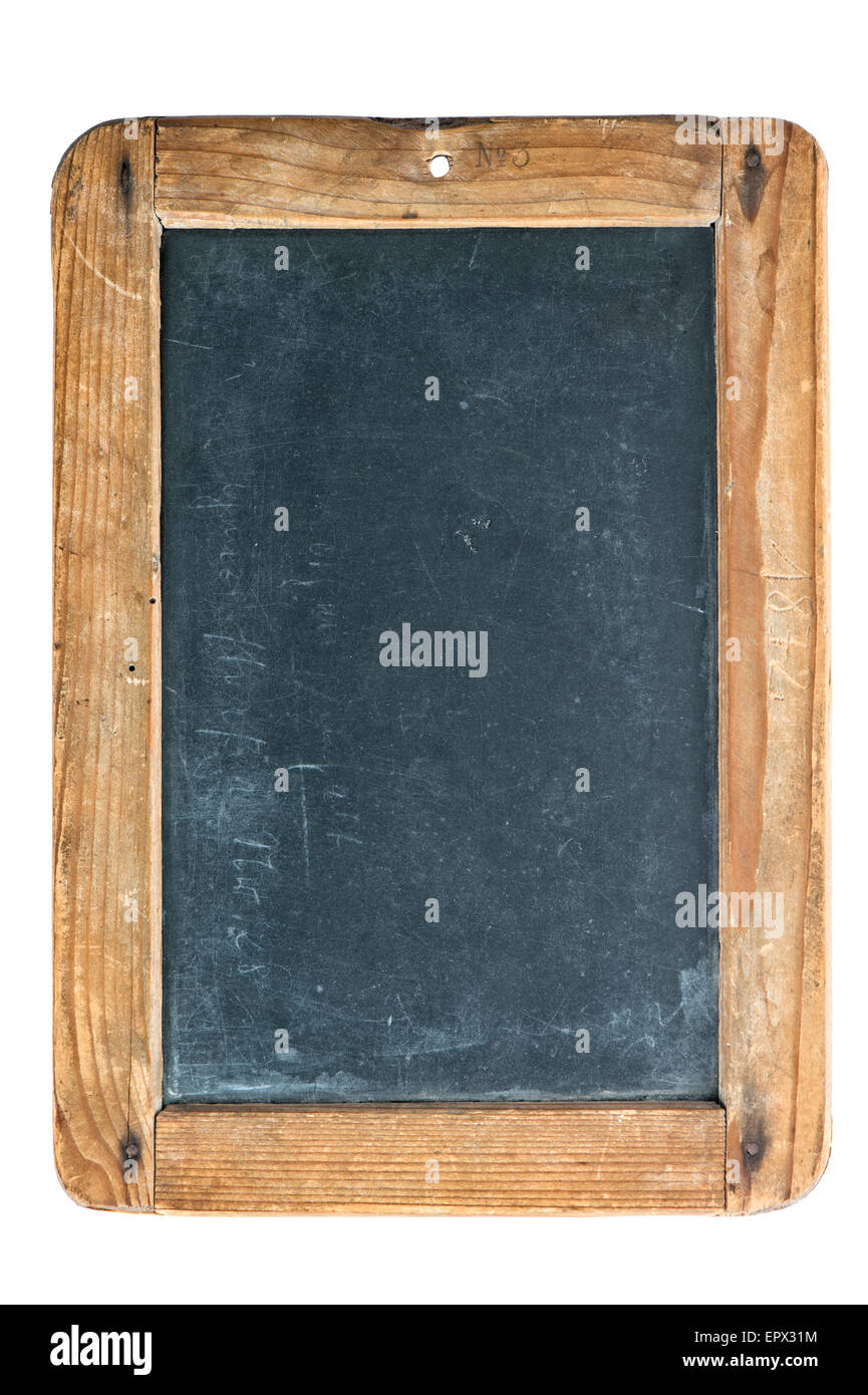 Vintage chalkboard with wooden frame isolated on white background ...