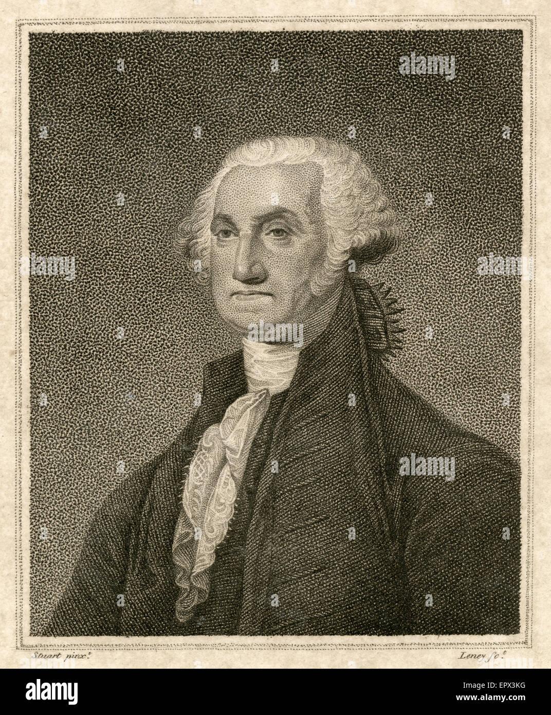 Antique 1812 steel engraving of George Washington, after the Gilbert Stuart painting. George Washington (1732 Ð Stock Photo