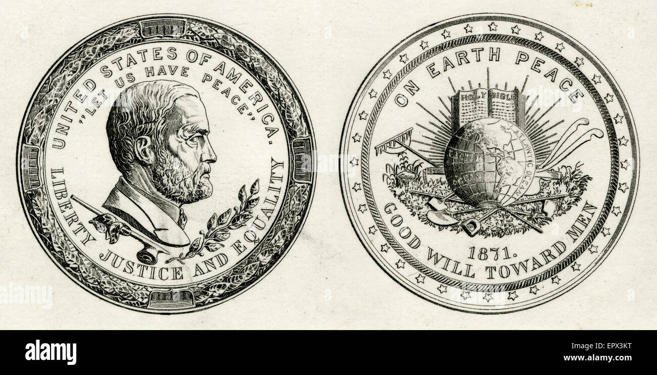 Antique c1871 steel engraving of the Ulysses S. Grant Peace Medal, obverse and reverse. United States of American, - Stock Image