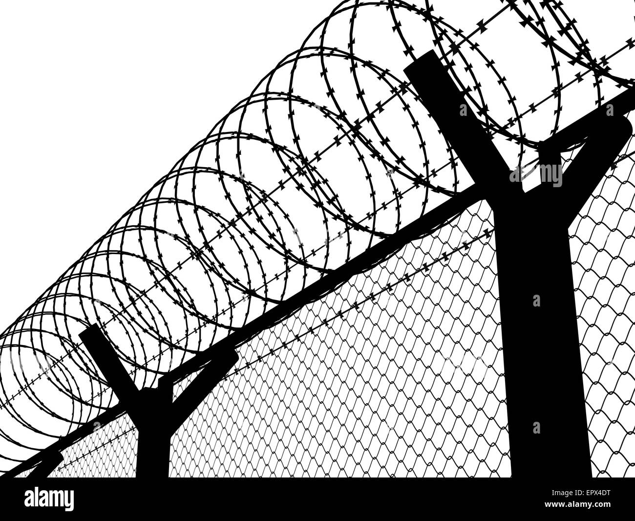 Fence with a barbed wire, silhouette illustration Stock Photo ...