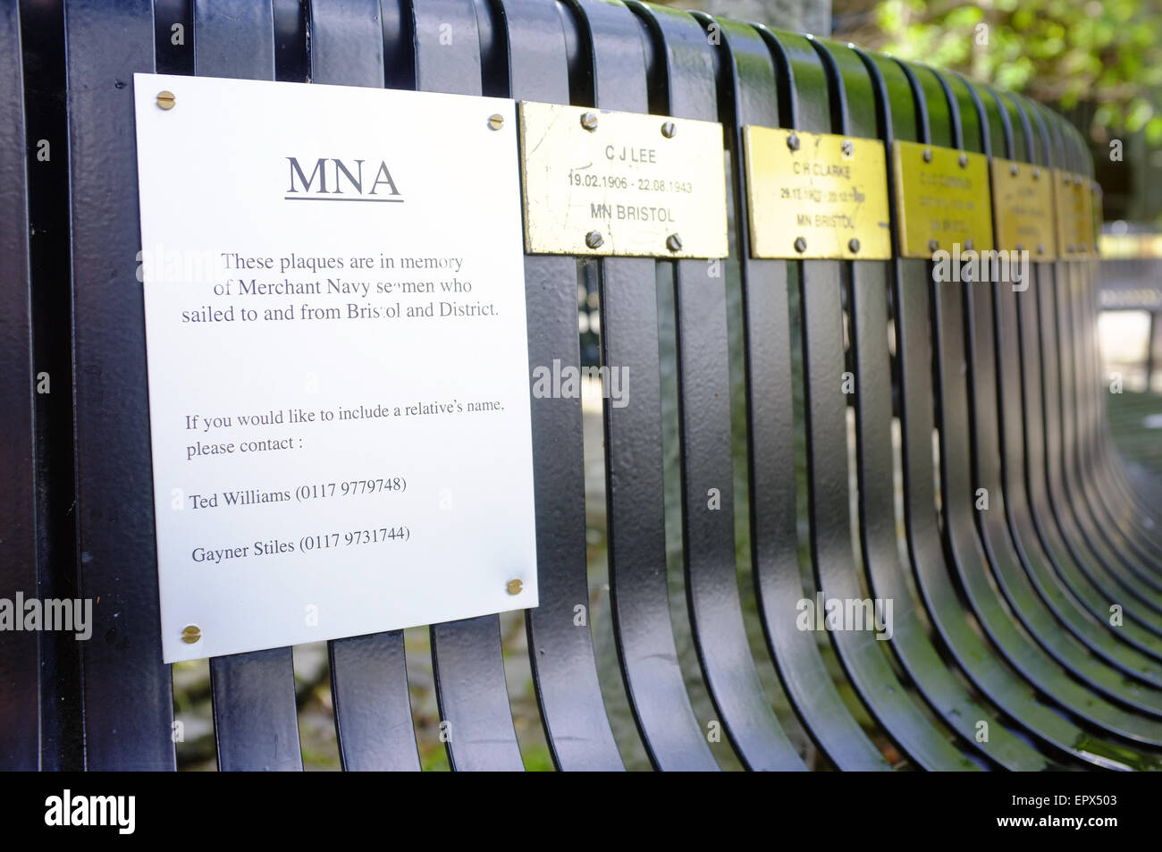 Plaques on a bench in memory of the Merchant Navy Seamen who sailed to and from Bristol in the Second World War. - Stock Image