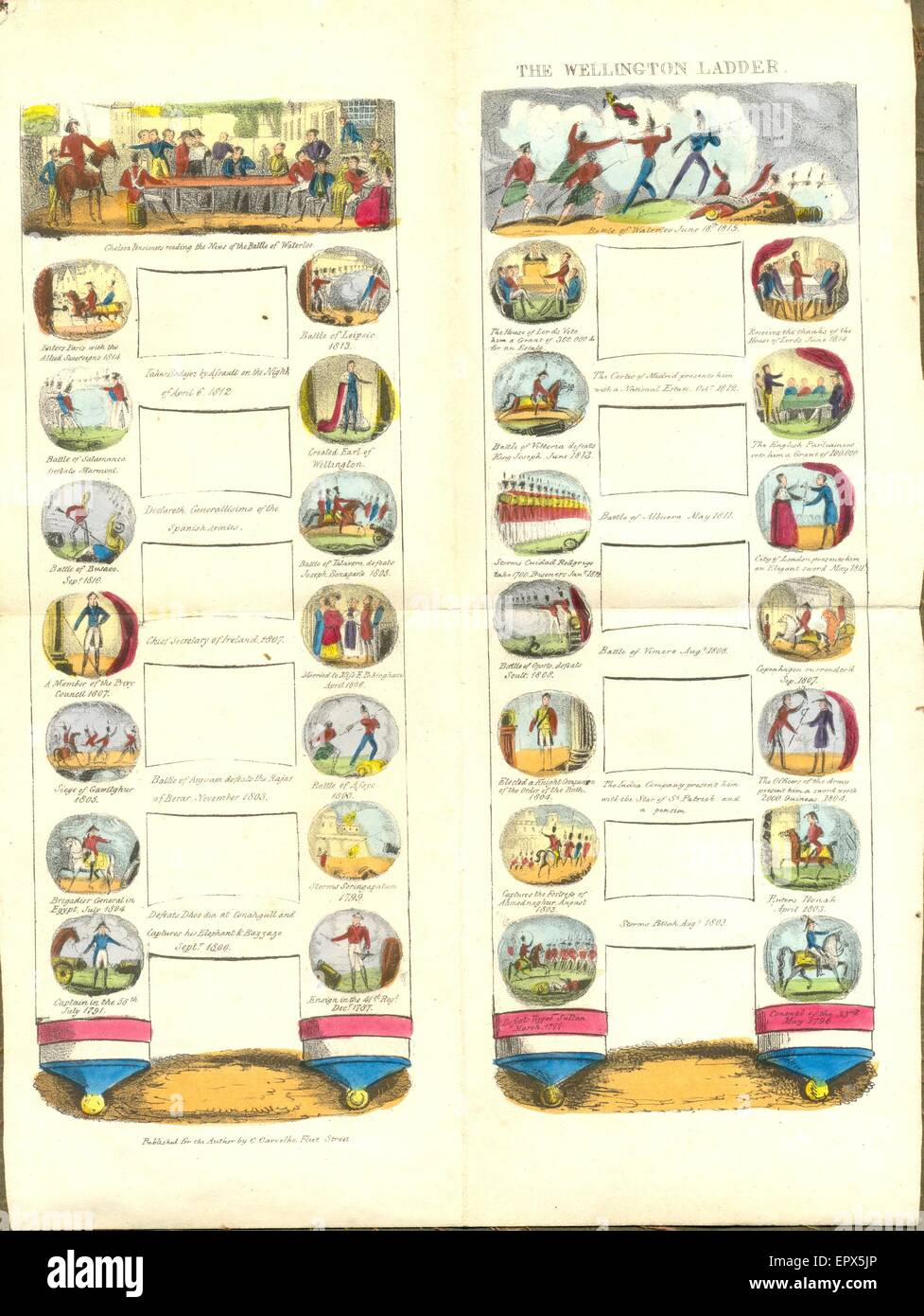 hand coloured board game on The Life and Military Adventures of the Duke of Wellington 1787 to 1815.   Published - Stock Image