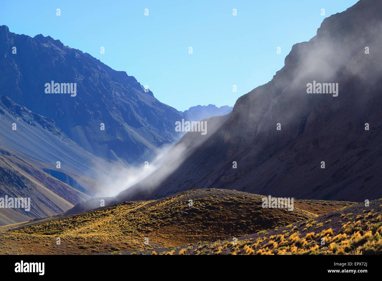 Argentina, Mendoza, Aconcagua Provincial Park, Landscape with mountain range and valley Stock Photo