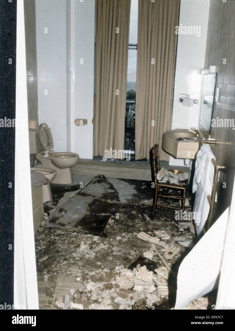 Interior view showing damage to the bathroom occupied by Margaret and Dennis Thatcher at the Grand Hotel in Brighton - Stock Image