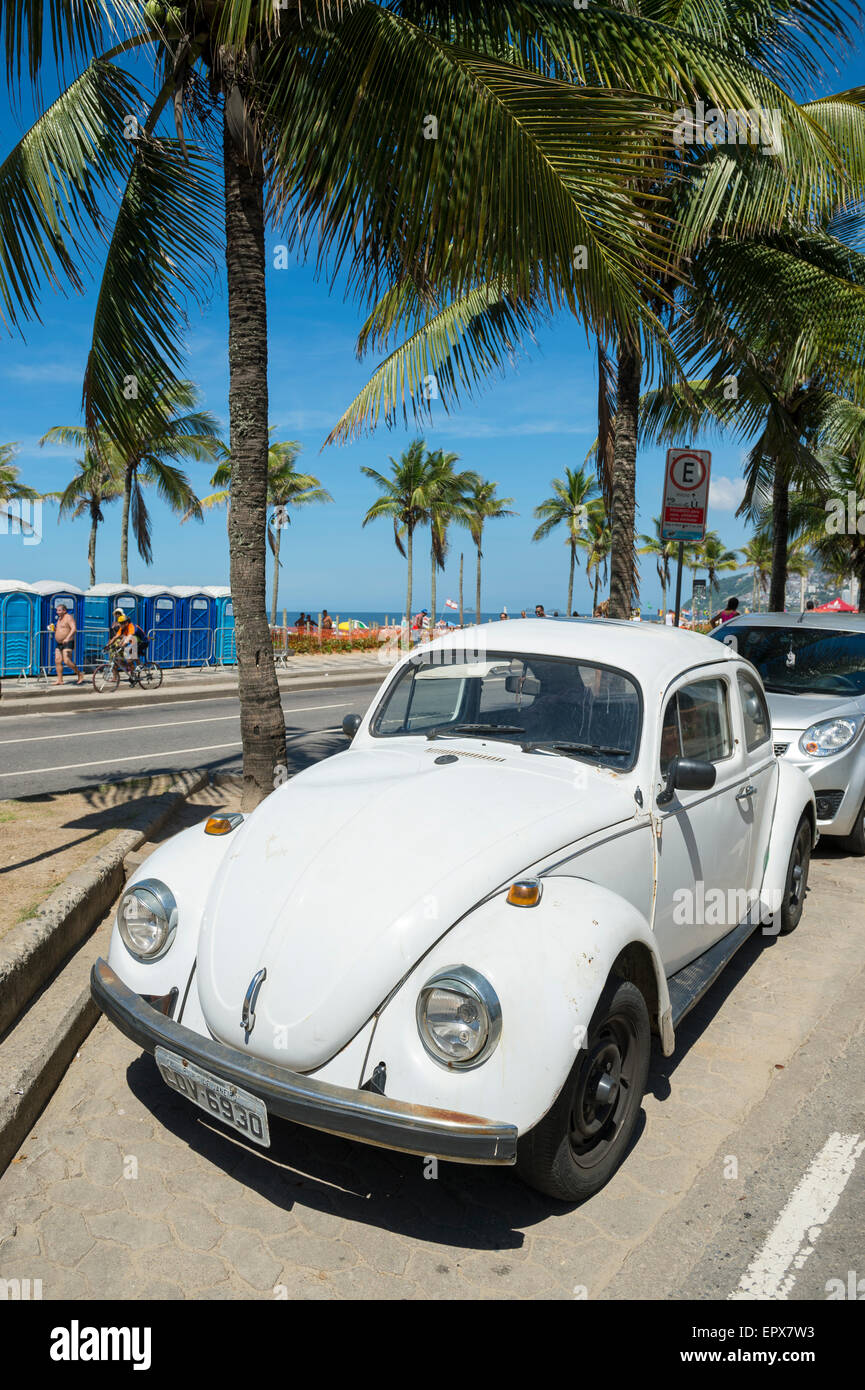Classic Old White Volkswagen Type 1 Beetle Known Locally As A Fusca Stock Photo Alamy