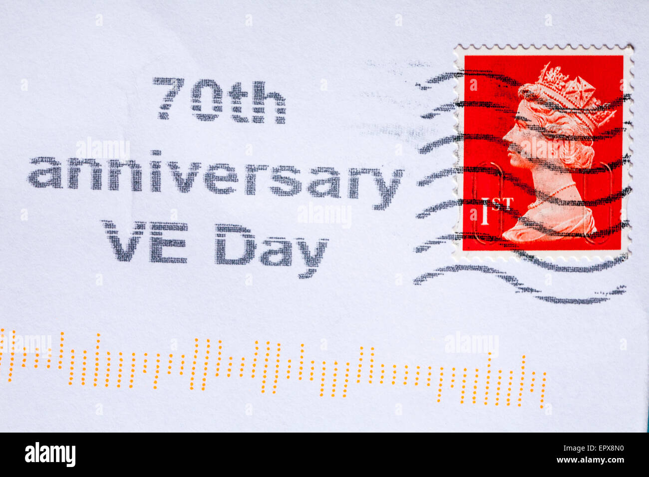 1st class stamp on envelope stamped with 70th anniversary VE Day - Stock Image