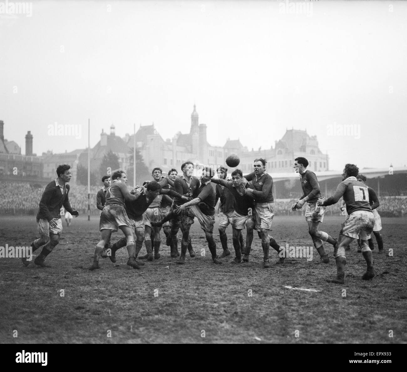 Action from the Wales v Ireland Home Nations Championship at Cardiff Arms Park. The final score was a three points - Stock Image