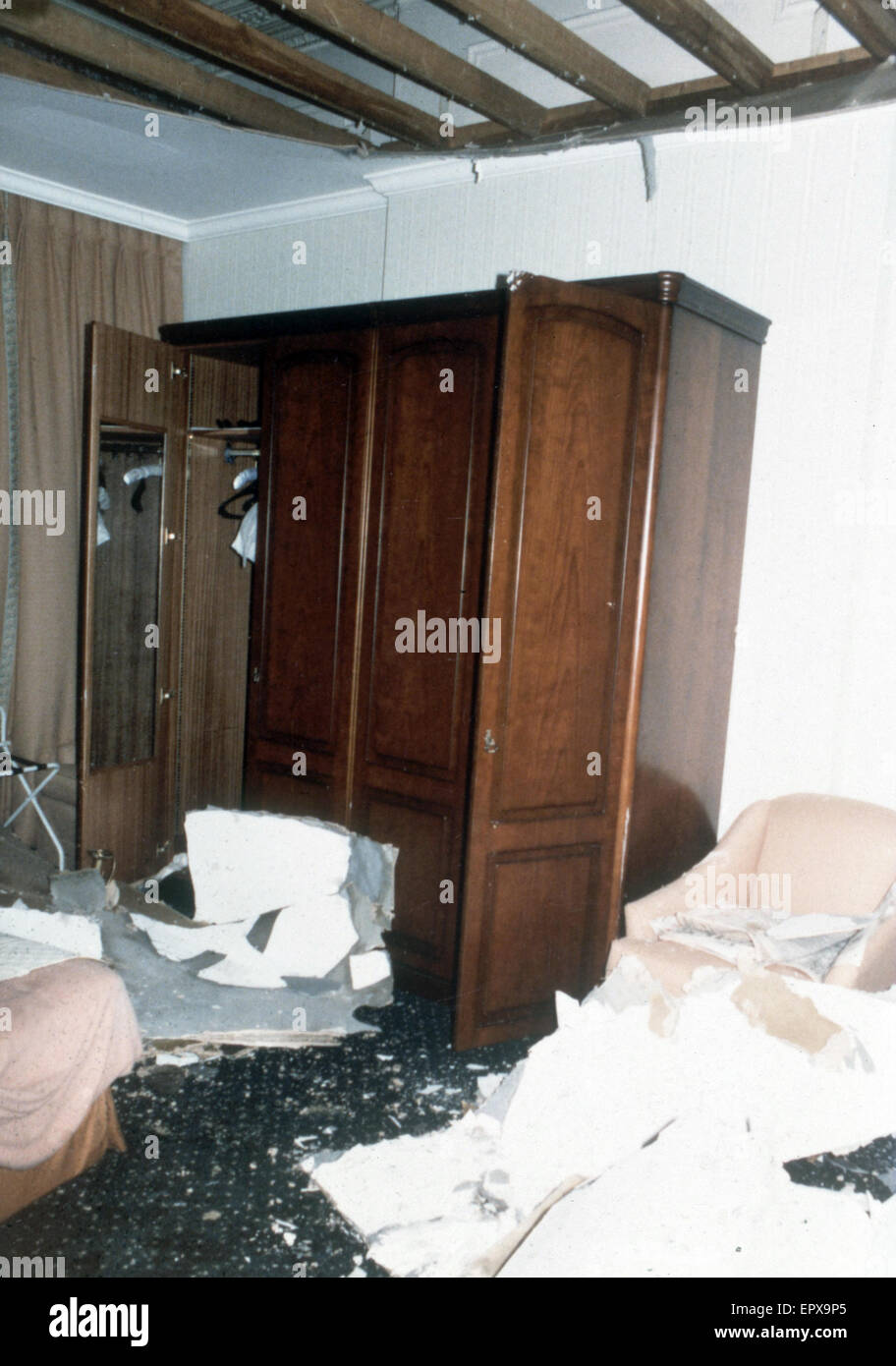 Interior view showing damage to the bedroom occupied by Margaret and Dennis Thatcher at the Grand Hotel in Brighton - Stock Image