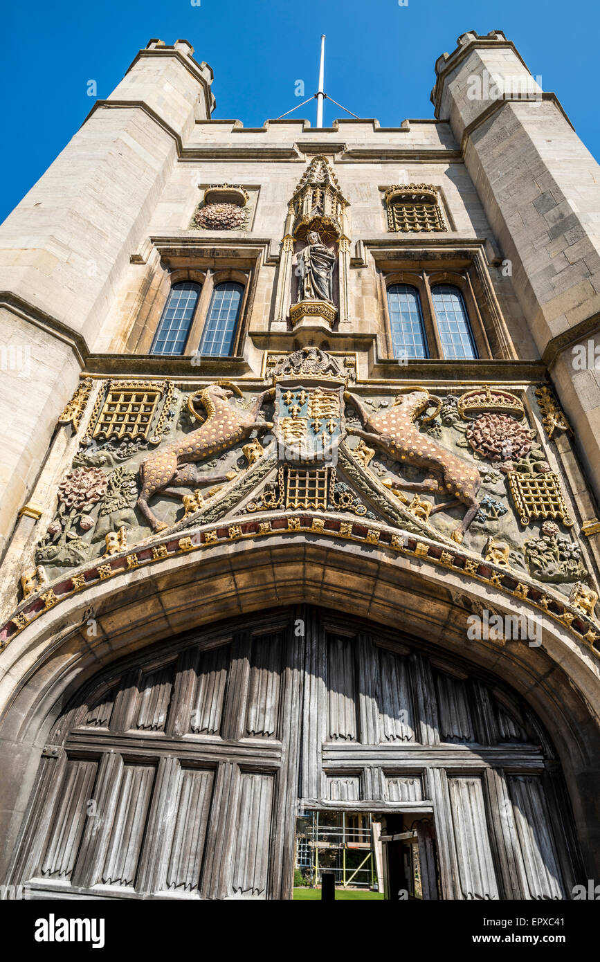 the front entrance and gatehouse to Christ's College of Cambridge University - Stock Image