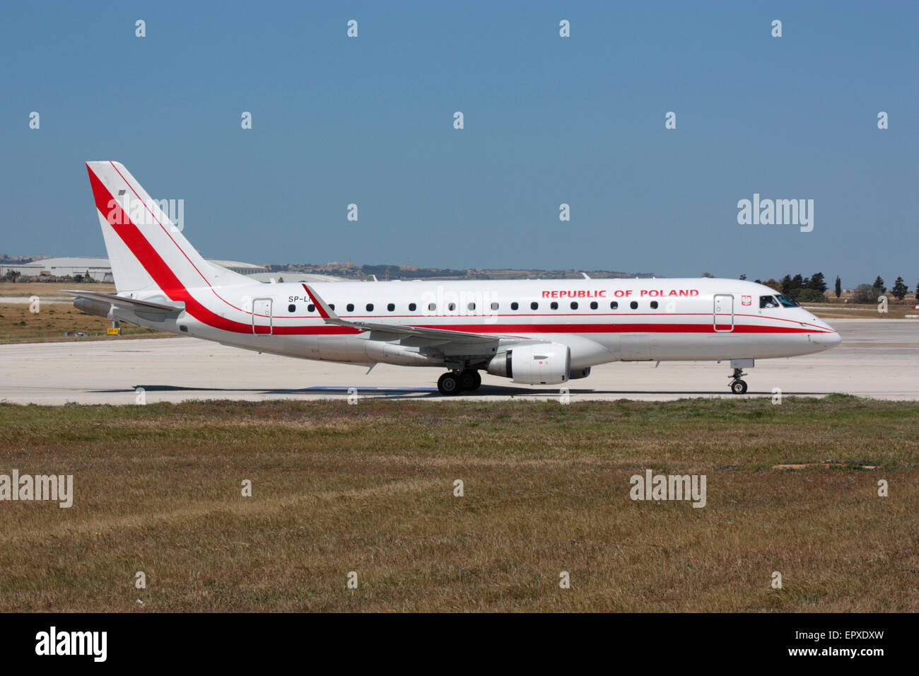 Embraer 175LR official VIP transport of the government of Poland on arrival in Malta - Stock Image