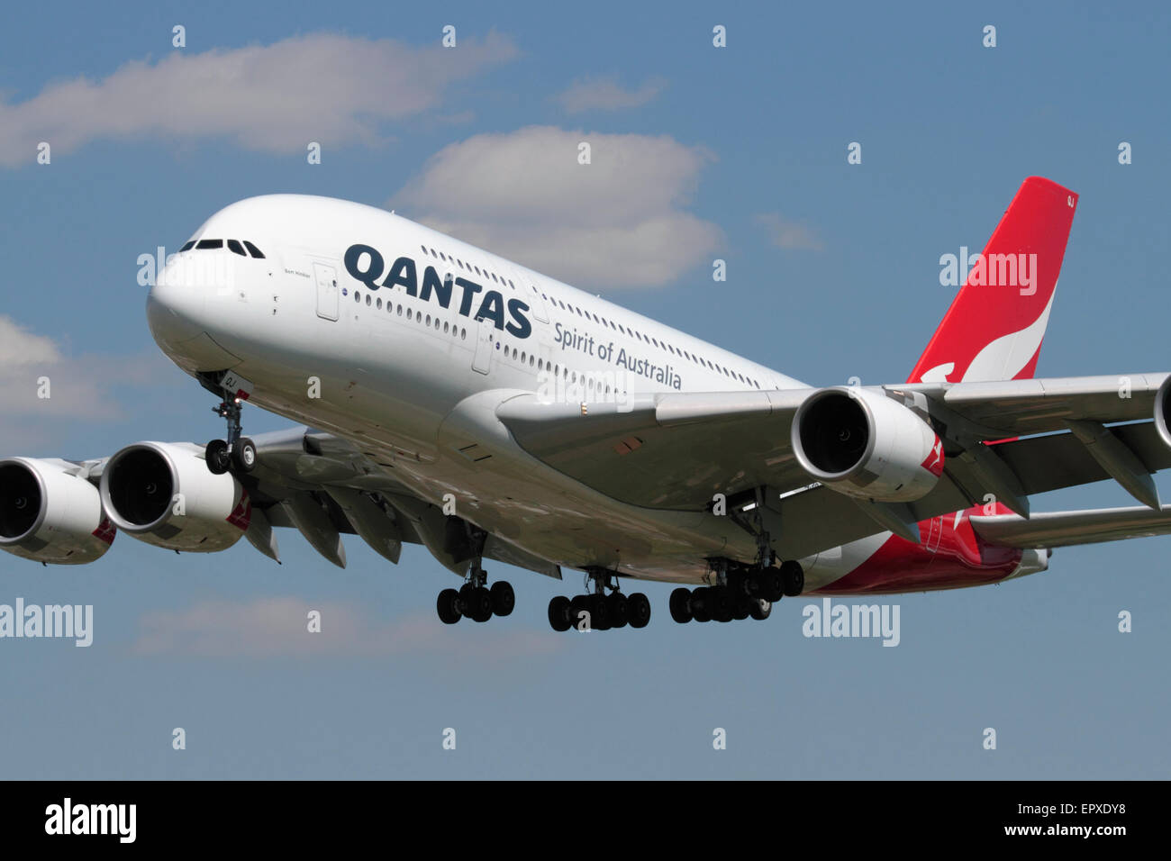 Long haul air travel. Qantas Airbus A380-800 large modern double-decker airliner, known as the superjumbo, on approach - Stock Image