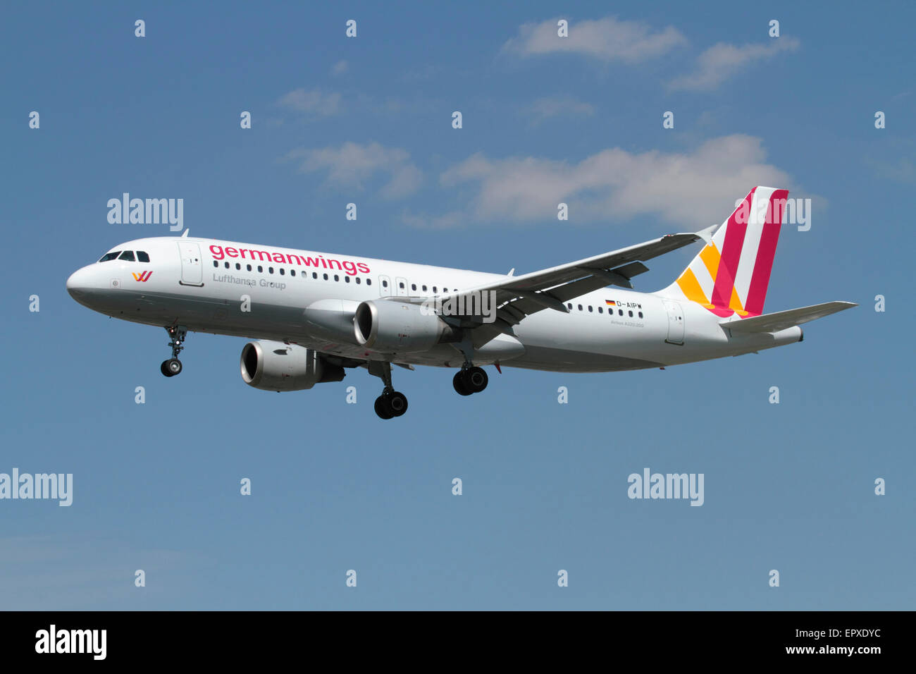 Low cost air travel. Airbus A320 passenger jet belonging to budget airline Germanwings on approach - Stock Image