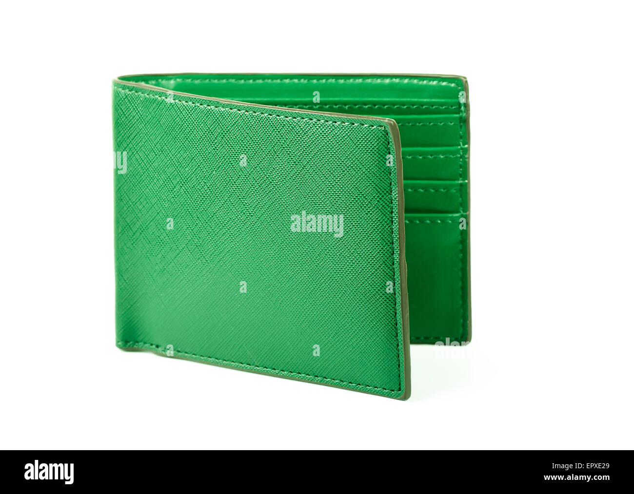 Green wallet on a white background - Stock Image