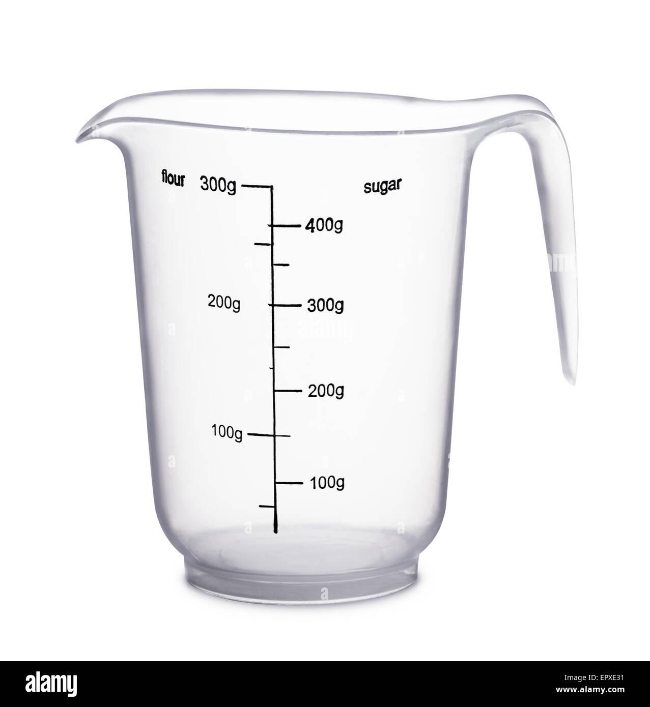 Empty beaker on a white background - Stock Image