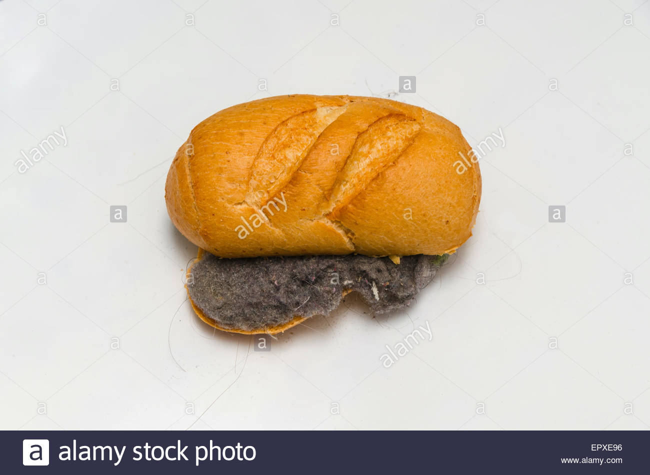 Unhygienic dust and har sandwich. Disgusting food - Stock Image
