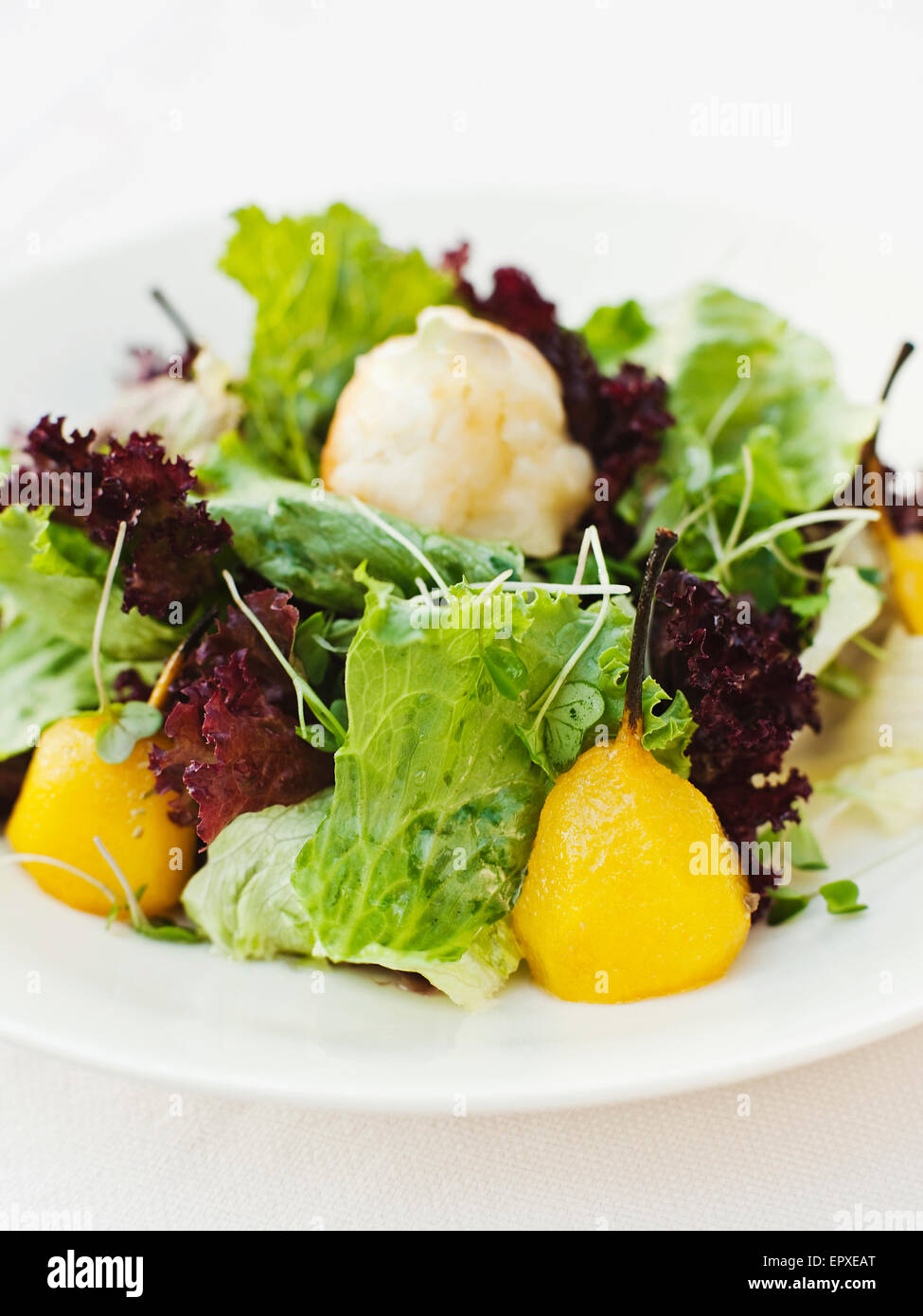 Saffron Poached Pears with Toasted Goat Cheese Salad, Ananda in the Himalayas, The Palace Estate, Narendra Nagar, - Stock Image