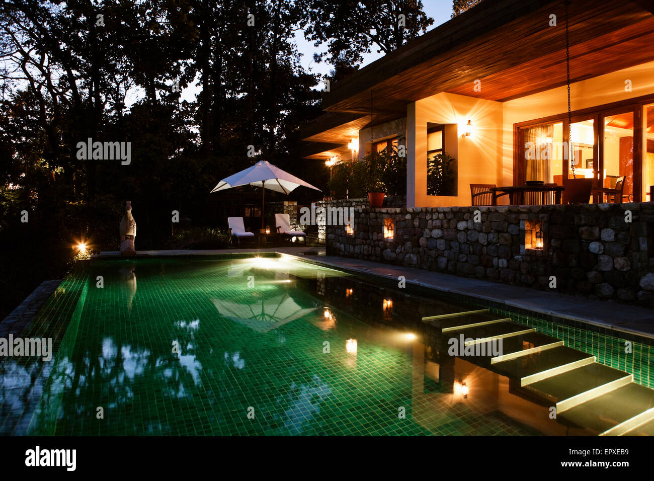 Exterior of the Shivalik Double Room Pool Villa, Ananda in the Himalayas, The Palace Estate, Narendra Nagar, Tehri - Stock Image
