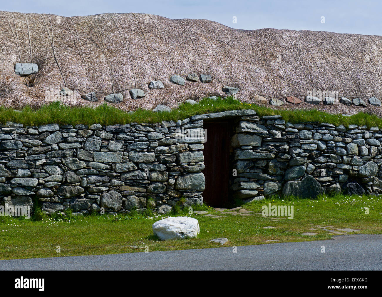 Detail of the Arnol Blackhouse, Isle of Lewis, Outer Hebrides, Scotland UK - Stock Image