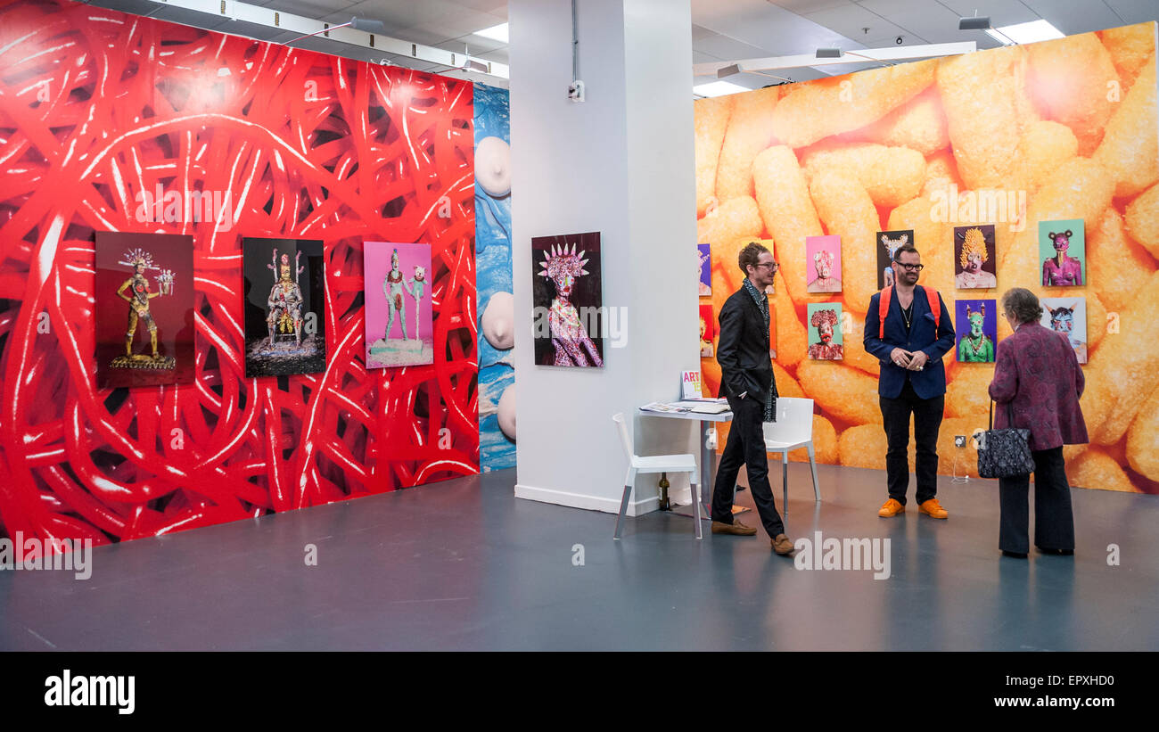 London, UK. 22 May 2015. Works by James Ostrer featuring fast food on display at Art15, a global art fair currently - Stock Image