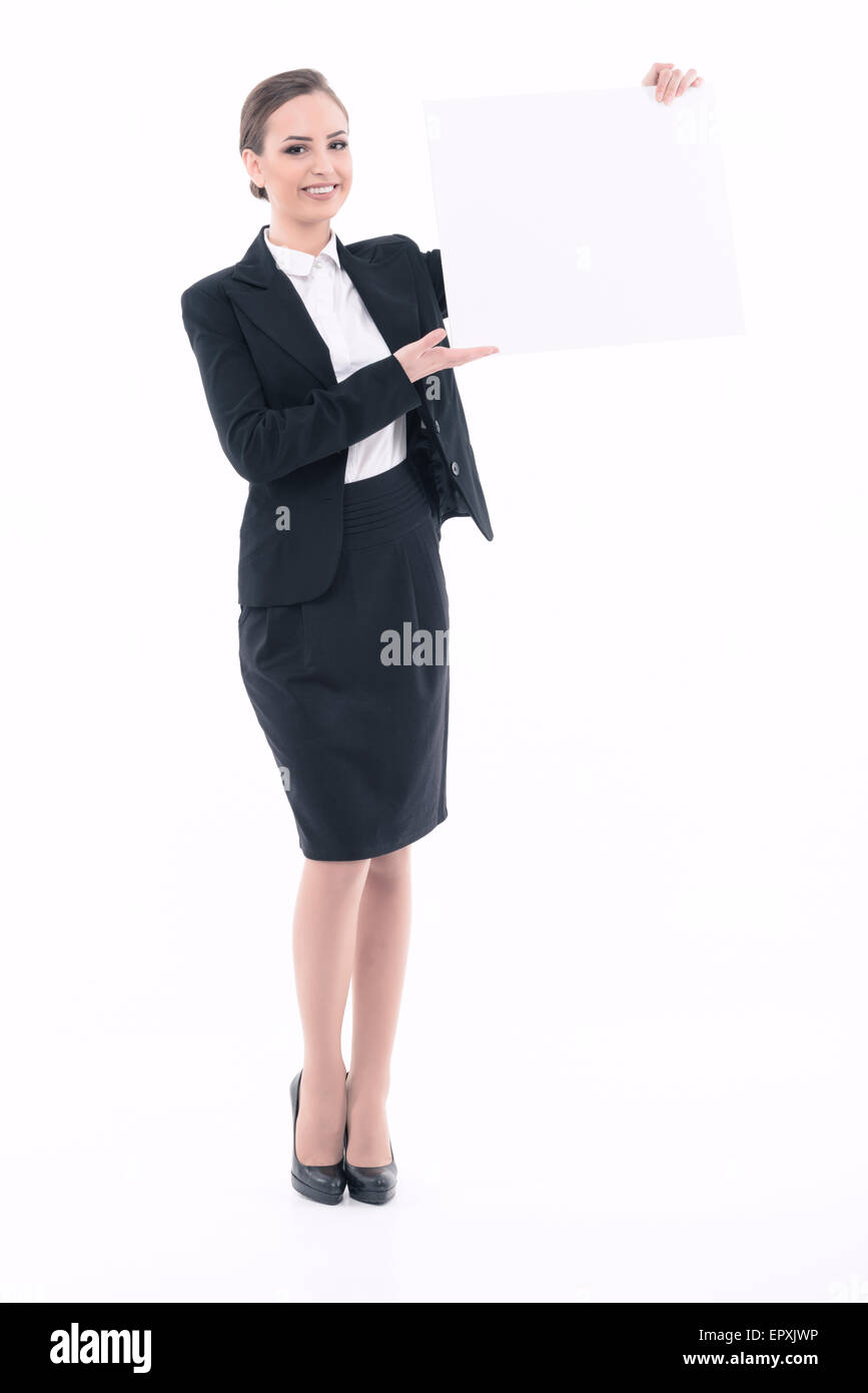 Beautiful woman advertising in formal clothes - Stock Image