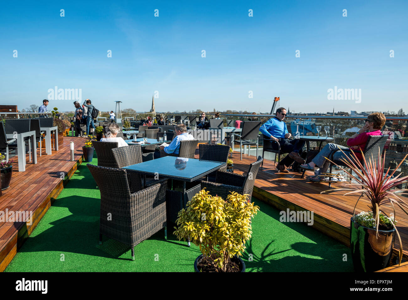 the rooftop bar at the Varsity Hotel Cambridge, UK - Stock Image