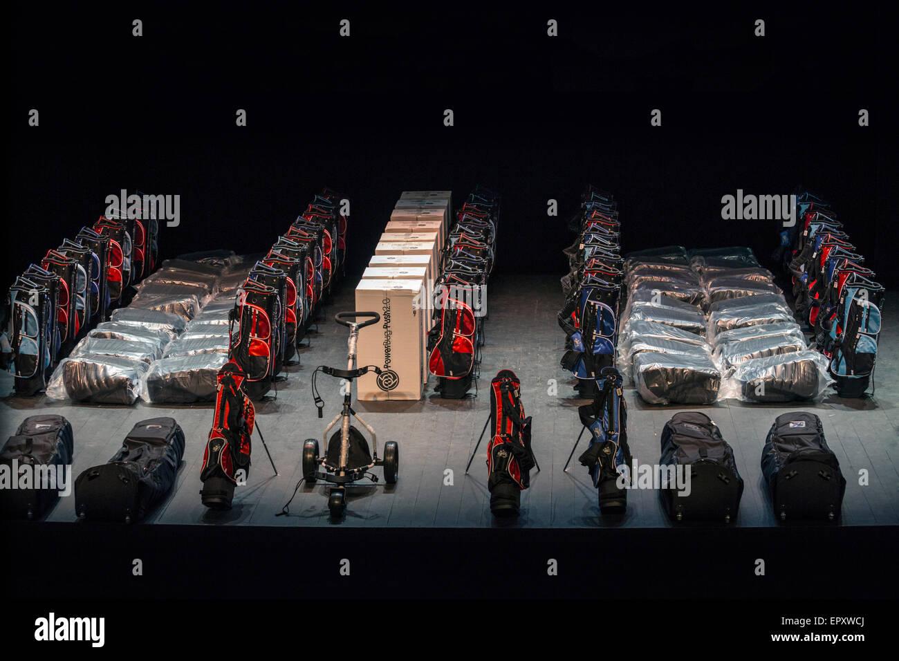 Golf equipments put into storage (France). Stock de matériel de golf dans un entrepôt (France). - Stock Image