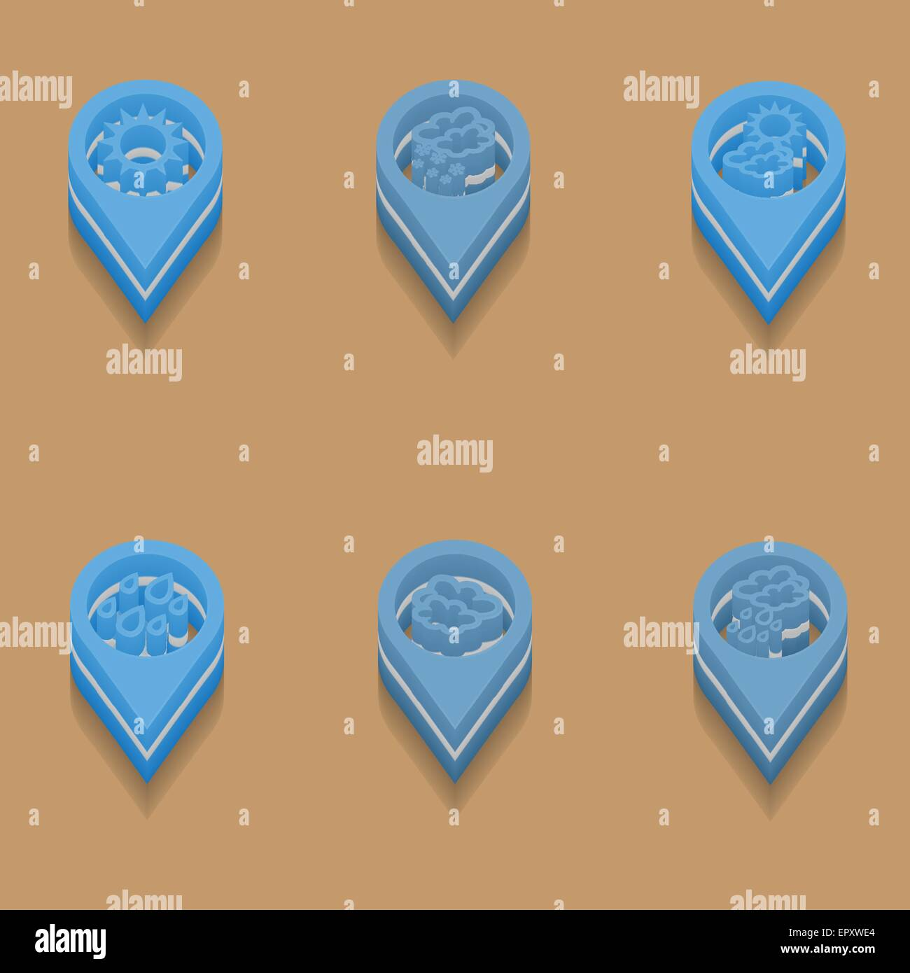 weather icons in isometric style Stock Vector