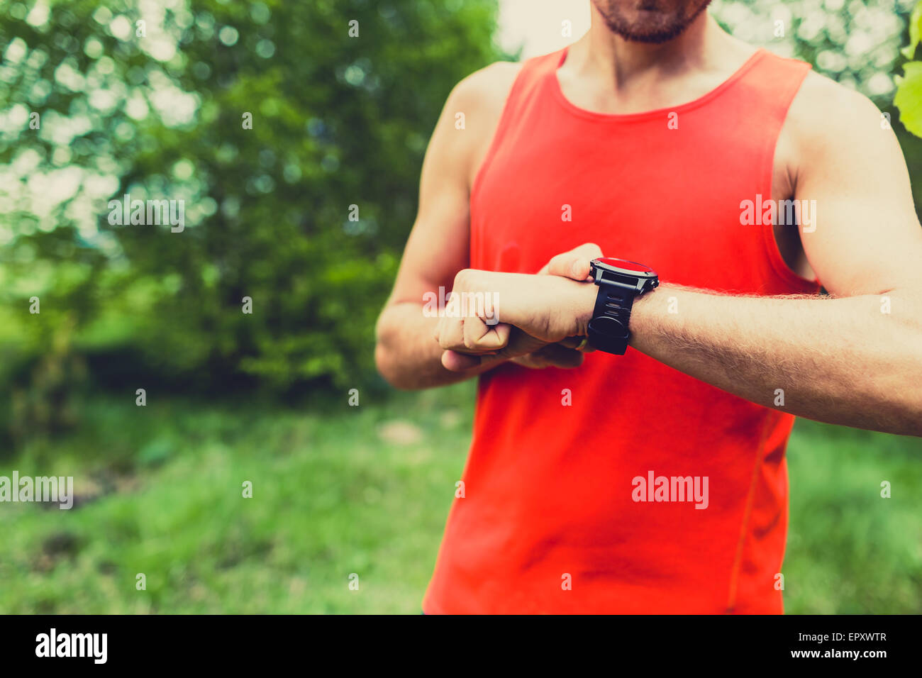 Runner on mountain trail checking looking at sportwatch smart watch, cross country runner checking performance, - Stock Image